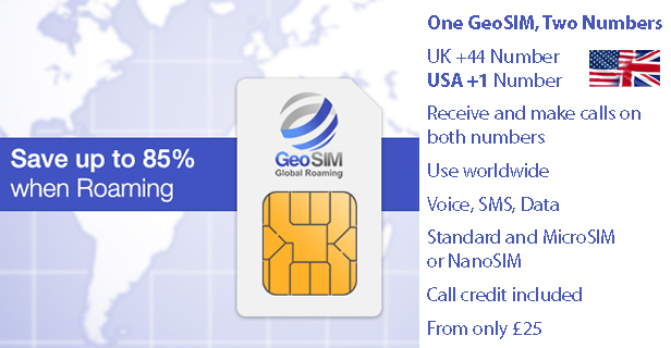 GeoSIM Dual IMSI Free roaming calls in USA