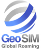 "GeoSIM Roaming Sim Cards Logo. ""Free roaming global sim card."""